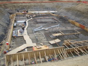 Excavation for concrete foundation